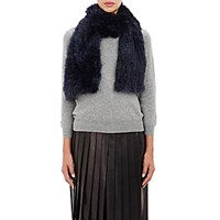 Barneys New York Women's Rabbit Fur Muffler Navy