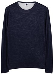 Nn.07 Noel Navy Melange Wool Blend Top