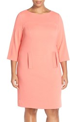 Plus Size Women's Eliza J Pocket Detail Shift Dress Melon