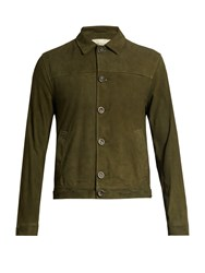 Oliver Spencer Point Collar Suede Jacket Green