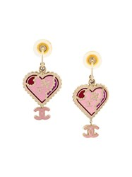 Chanel Vintage Heart Earrings Pink And Purple