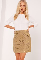 Missguided Faux Suede Stud Detail Mini Skirt Tan