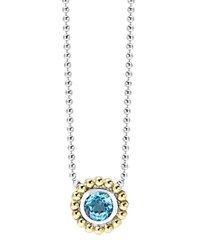 Lagos Sterling Silver And 18K Gold Pendant Necklace With Blue Topaz 16