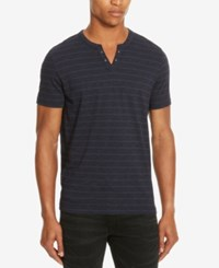 Kenneth Cole Reaction Men's Striped Eyelet Henley Nightshade