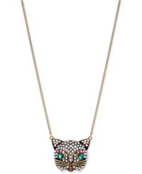 Betsey Johnson Gold Tone Crystal And Imitation Pearl Cat Pendant Necklace Multi