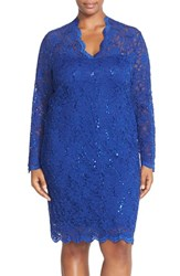 Marina Plus Size Women's Sequin Stretch Lace Sheath Dress Royal