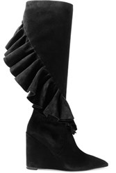 J.W.Anderson Ruffled Suede Wedge Knee Boots Black