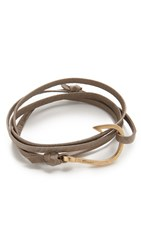 Miansai Hook Leather Wrap Bracelet Gold Stone