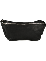 Guidi Distressed Leather Shoulder Bag Black