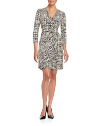 Calvin Klein Printed Mock Wrap Dress Black White