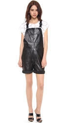 Milly Leather Short Overalls Black