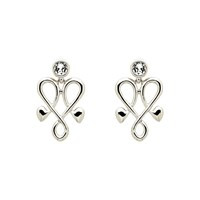 Biba Silver Heart Crystal Emblem Earrings
