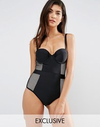 Wolf And Whistle Tummy Control Bustier Swimsuit B G Cup Black