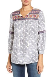 Caslonr Women's Caslon Embroidered Three Quarter Sleeve Boho Blouse