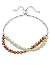 Lord And Taylor 5Mm Faux Pearl Sterling Silver Bracelet Two Tone