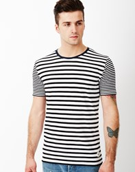 Only And Sons Stripe O Neck T Shirt White