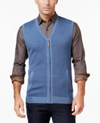 Tasso Elba Men's Zip Up Texture Vest Only At Macy's Moonlite Blue