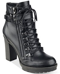 G By Guess Grazzy Lace Up Booties Women's Shoes Black