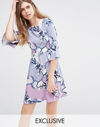 Every Cloud Floral Flared Sleeve Skater Dress Multi Print