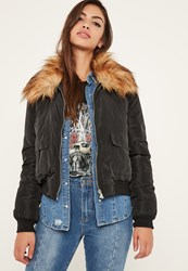 Missguided Black Faux Fur Collar Utility Bomber Jacket