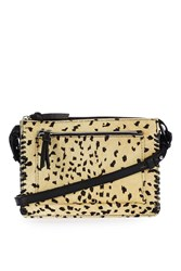Topshop Leather Whipstitch Crossbody Bag True Leopard