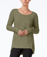 Bar Iii Asymmetrical Grommet Detail Sweater Only At Macy's Dusty Olive