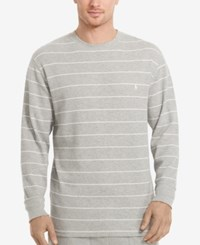 Polo Ralph Lauren Men's Stripe Long Sleeve Crew Neck Waffle Thermal Top Andover Hthr Stripe