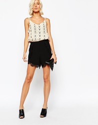 Selected Beauty Shorts With Lace Trim Black