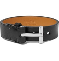 Tom Ford Silver Plated And Leather Bracelet Black