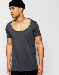 Asos Longline T Shirt With Wide Scoop Neck And Raw Edge In Washed Black Washed Black Grey