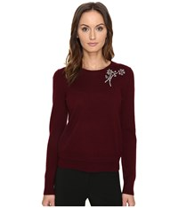 Kate Spade Embellished Brooch Sweater Midnight Wine Women's Sweater Brown