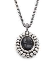 King Baby Studio Skull And Onyx Pendant Necklace Silver Black