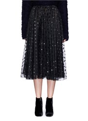 Giamba Ruched Waist Polka Dot Tulle Skirt Black