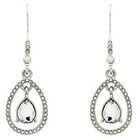 Monet Teardrop Glass Crystal Open Drop Earrings Silver