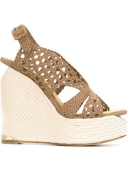 Paloma Barcelo Slingback Wedge Espadrilles Nude And Neutrals
