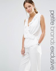 Alter Petite Wrap Front Sleeveless Blouse With Ruffle Detail Cream