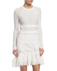 Jason Wu Long Sleeve Grid Top W Fringe Trim Chalk Women's