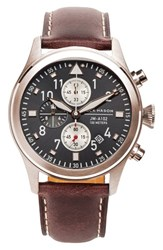 Jack Mason Brand Men's Chronograph Leather Strap Watch 42Mm Brown Grey