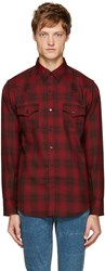 Saint Laurent Red Plaid Western Shirt