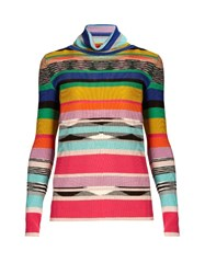 Missoni Roll Neck Ribbed Knit Sweater Multi