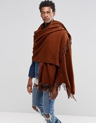 Asos Woven Blanket Scarf In Tobacco Tobacco Brown