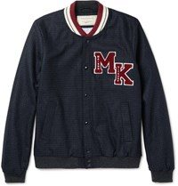 Maison Kitsune Maion Kitune Appliqued Wool Blend Varity Jacket Navy