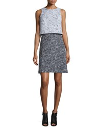 Carolina Herrera Sleeveless Tweed Popover Dress Black White