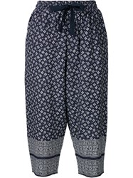 Sea Printed Cropped Trousers Blue