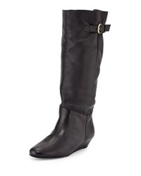 Steve Madden Insight Leather Demi Wedge Boot Black Leat