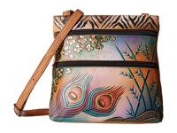 Anuschka 447 Peacock Safari Cross Body Handbags Brown