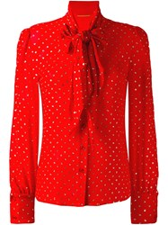 Saint Laurent Dot Pattern Pussybow Blouse Red