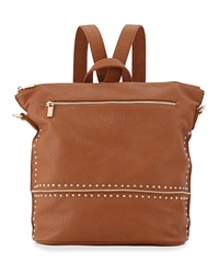 Neiman Marcus Studded Faux Leather Convertible Backpack Cognac