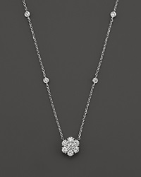 Bloomingdale's Diamond Flower Cluster Pendant Necklace In 14K White Gold .80 Ct. T.W.