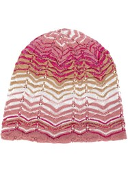 Missoni Zig Zag Knit Beanie Pink And Purple